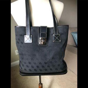 DOONEY & BOURKE Signature Black Fabric  Bucket Bag